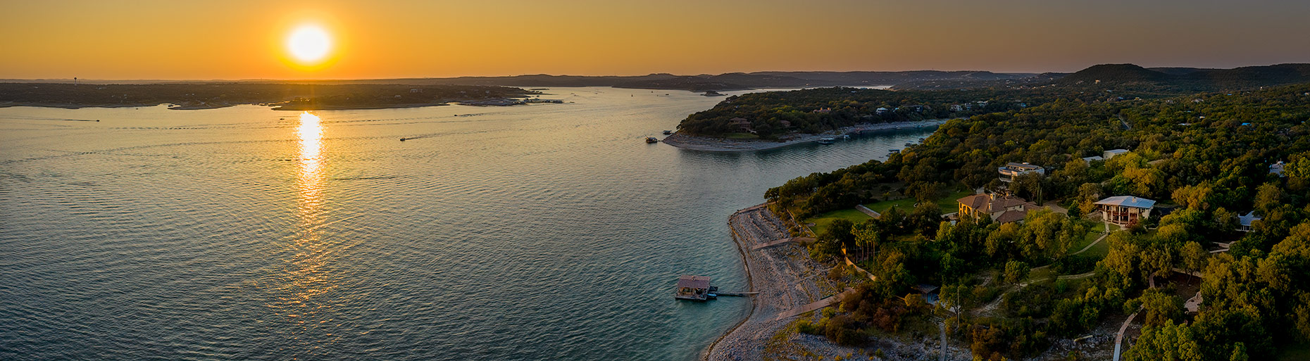 Aerial View of Lake Travis, from Volente, Texas on The Northern Shore